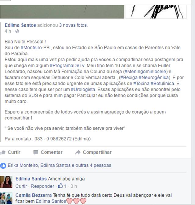 Euller-Leonardo-1 Mãe Monteirense pede em rede social ajuda para o tratamento do filho