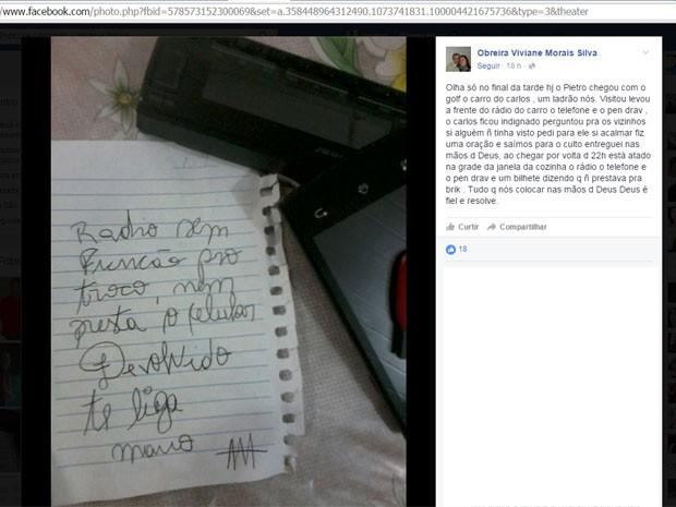 devolveu Após furto, ladrão devolve objetos e deixa bilhete com reclamação