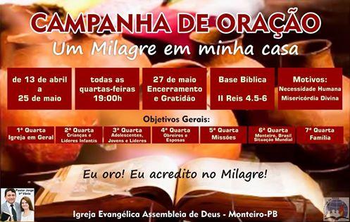 co Igreja Evangélica Assembleia de Deus de Monteiro Realiza Campanha de oração