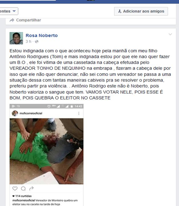 agessão101 Em Monteiro: Vereador é acusado de agredir funcionário públicocom cacetada na cabeça