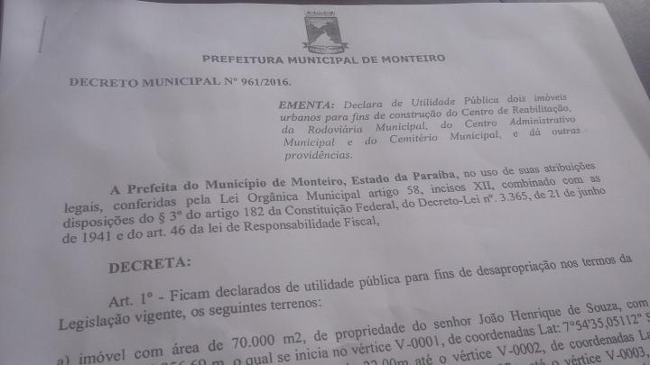 01092016150612 Prefeitura de Monteiro desapropria terrenos para construção de Centro Administrativo e Rodoviária
