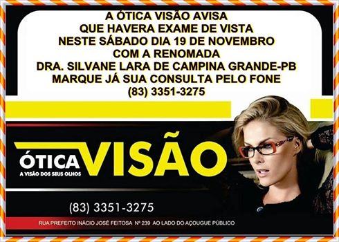otica-visao Ótica visão em Monteiro, fará exames de vista neste sábado dia 19