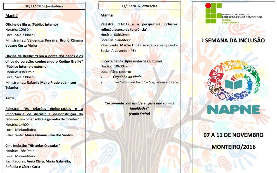 programacao023 IFPB Campus Monteiro realiza I Semana da Inclusão