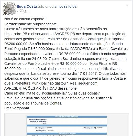 euda-costa-denuncia-no-facebook Possível superfaturamento é identificado na prefeitura de São Sebastião do Umbuzeiro