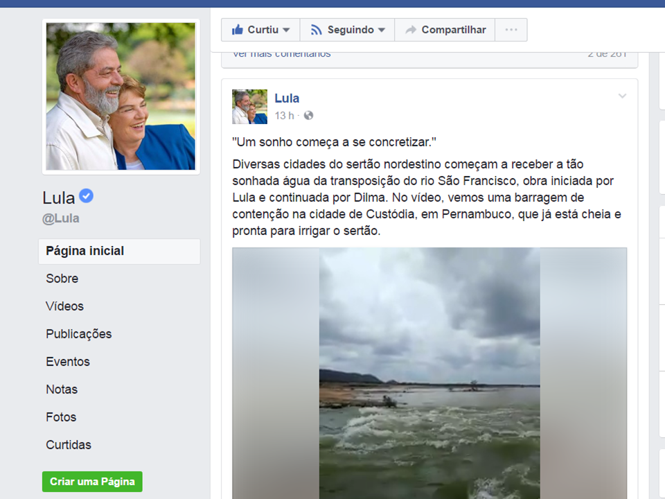 lula Vídeo feito por vereador Monteirense repercute na Página do ex-presidente Lula