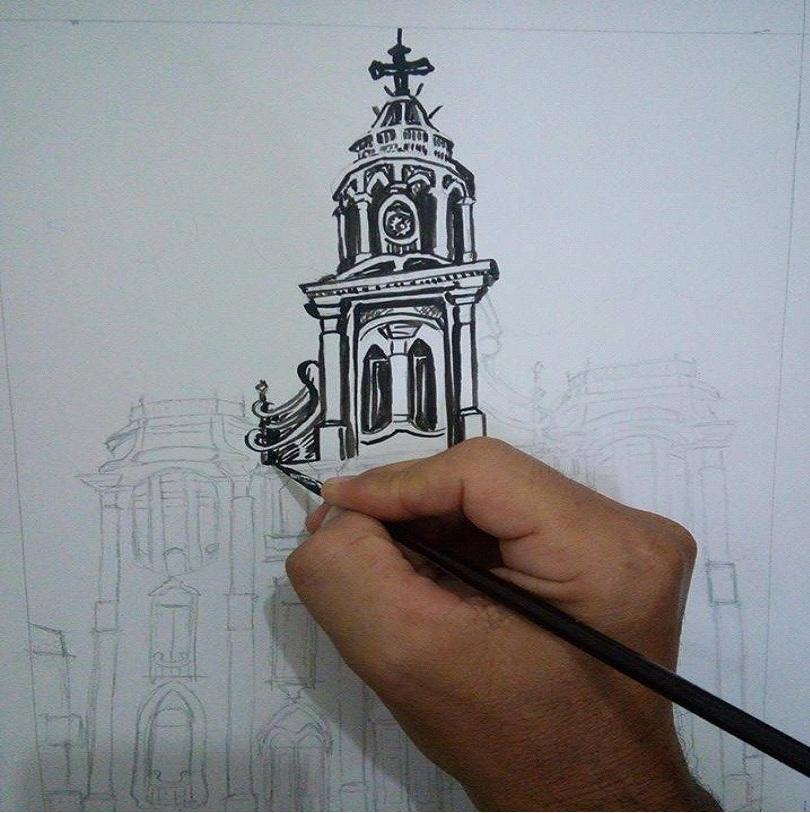 igreja-p Artista Plástico monteirense retrata Monteiro e Artistas populares em suas Telas