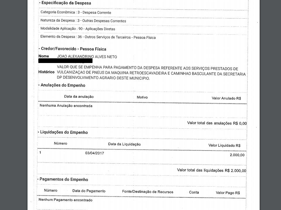 medico-ssu Prefeito do cariri paga mais de R$ 2.000 reais a Médico veterinário por vulcanização de Pneus