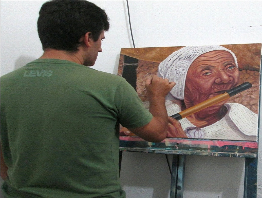 tomaz Artista Plástico monteirense retrata Monteiro e Artistas populares em suas Telas