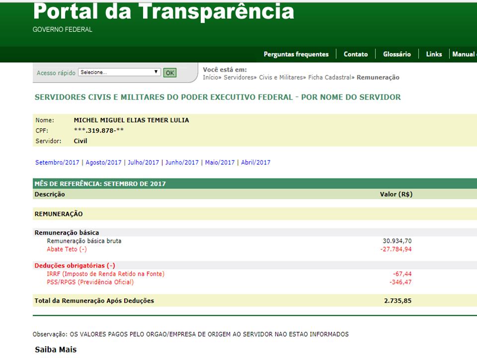 Salario-do-presidente-do-brasil Escândalo: Ex-Prefeito de Sumé tem salário de quase 60 mil, superior ao do presidente da República.