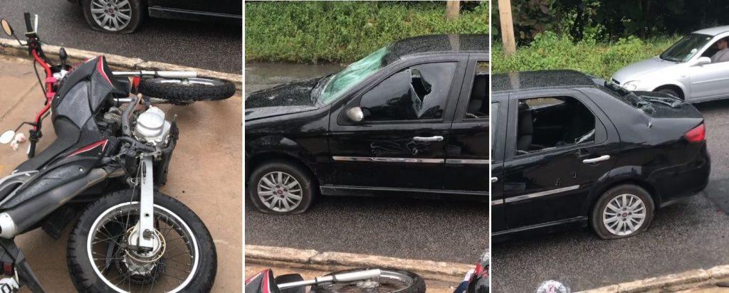 acidente_-_carro_e_moto-1024x412 Motociclista se irrita em acidente e destrói carro com golpes de picareta em João Pessoa