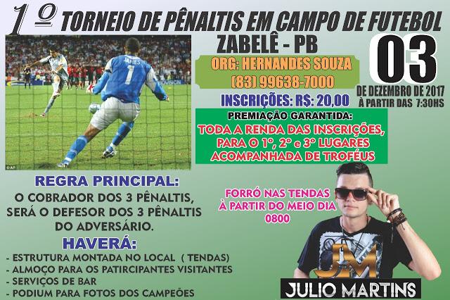 TORNEIO-DE-PENSLTIS 1º torneio de Pênaltis em campo de futebol - Zabelê-PB