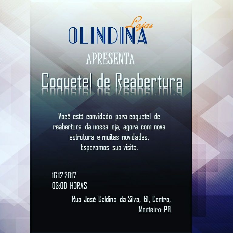 LOJAS-OLINDINA-03 É HOJE: Coquetel de Reabertura das Lojas Olindina