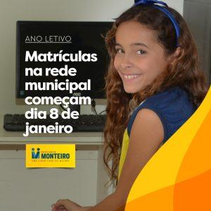 arte_matriculas-300x300 Matrículas da rede municipal de ensino começam dia 8 em Monteiro