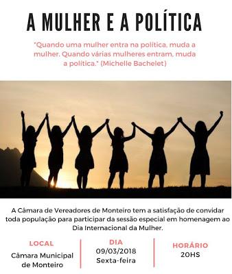 5-1 Câmara municipal de Monteiro realiza sessão especial em homenagem ao dia internacional da mulher