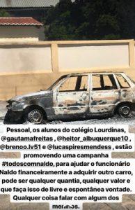 carro-pega-fogo-194x300 Alunos da escola Lourdinas lançam campanha #todoscomnaldo para ajudar funcionário que teve carro incendiado