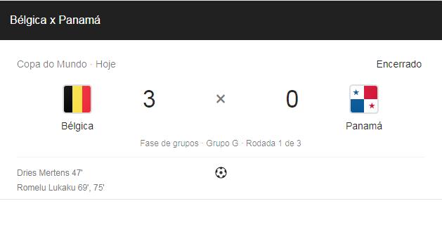 asdfghgf Resultado do jogo: Bélgica 3 X 0 Panama