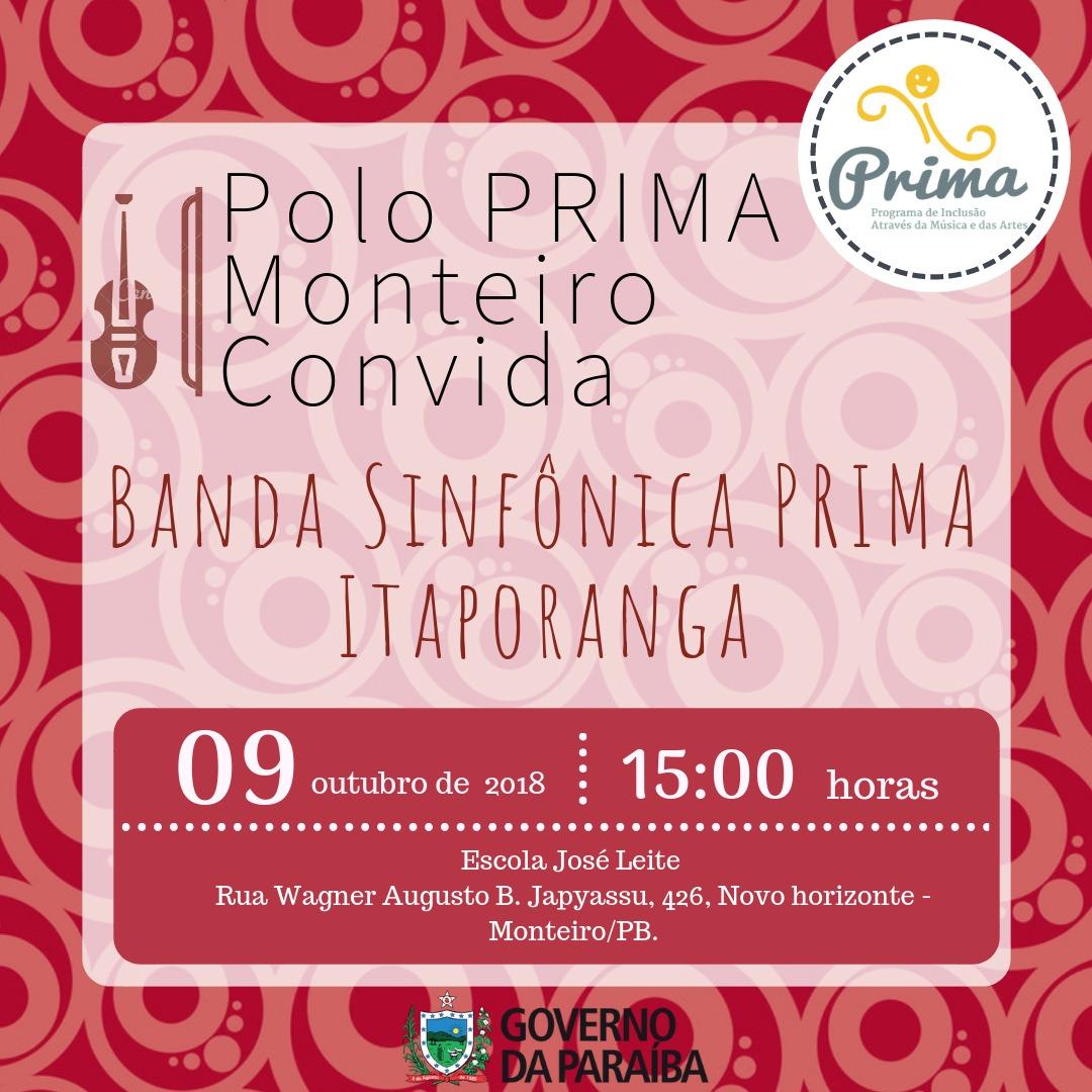 6e5bd5d3-3384-4a78-8949-b688df1bb5ed Recital didático da banda de música do Programa PRIMA polo Monteiro se apresenta hoje