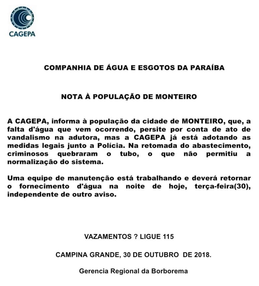 cagepa-monteiro Interrupção no fornecimento de água em Monteiro foi causada por atos de vandalismo