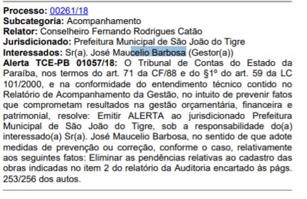 t1 Prefeito de São João do Tigre recebe alerta do TCE-PB por falta de transparência administrativa.