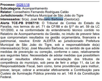 t2 Prefeito de São João do Tigre recebe alerta do TCE-PB por falta de transparência administrativa.