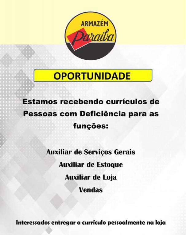 oportunidade-de-emprego-606x768 O Armazém Paraíba oferece vagas de Emprego para pessoas com deficiência em Monteiro.