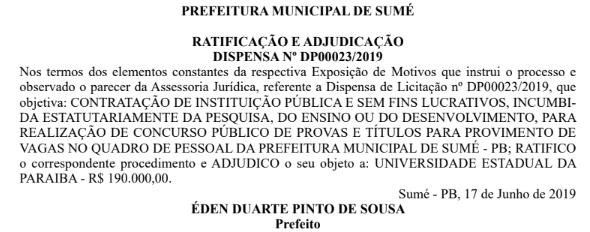 sume_-_concurso Prefeitura de Sumé vai realizar concurso público e define CPCON como banca organizadora