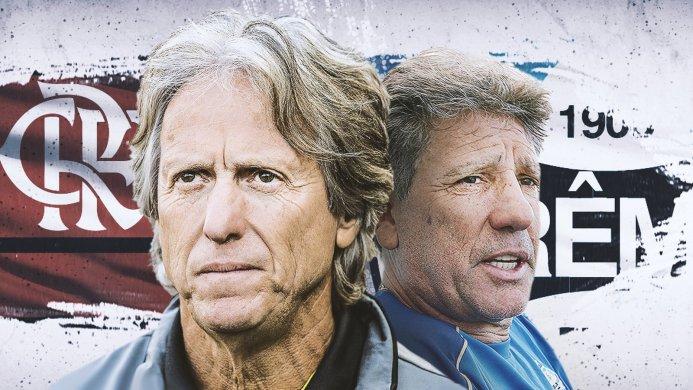 """carrossel-jesus-x-renato-693x390 DNA ofensivo e estilo enérgico: Flamengo x Grêmio coloca frente a frente """"popstars"""" Jesus e Renato"""