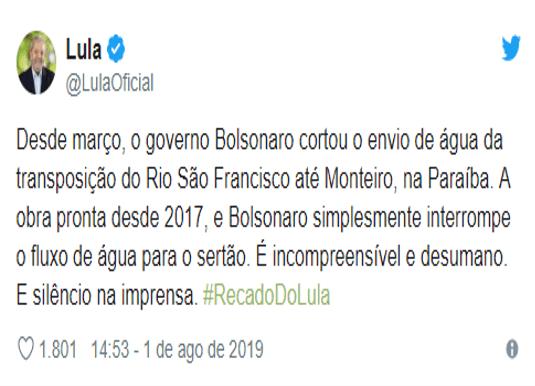 pb Bolsonaro corta água da transposição para Monteiro e Lula reage: é desumano