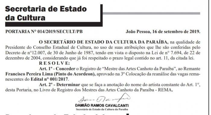 img-20190917-wa0002-700x384 Secretaria da Cultura concede título de 'Mestre das Artes Canhoto da Paraíba' a Pinto do Acordeon