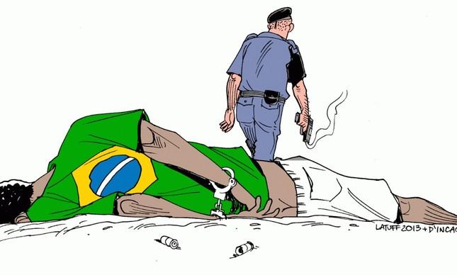 negro-policia Deputado quebra quadro de exposição na Câmara contra racismo e é alvo de BO de colegas