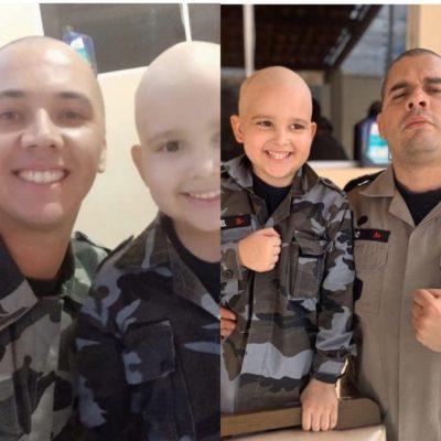 97E5014E-B696-4E8B-9F33-B05C456808B3-400x400 Policiais militares raspam cabelo em apoio à criança que está lutando contra o câncer na Paraíba