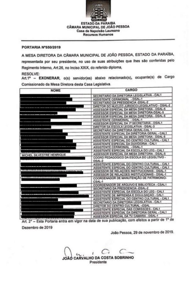 exonerado-camara Após repercussão negativa, Michel Henrique é exonerado da Câmara de João Pessoa