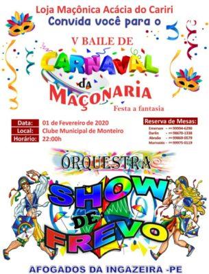 baile-maço-305x400 Loja Maçônica promove Quinto Baile de Carnaval em Monteiro
