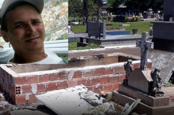 tumulo-768x508-1-605x400 Sumeense morto no interior do Paraná tem túmulo violado e caixão incendiado