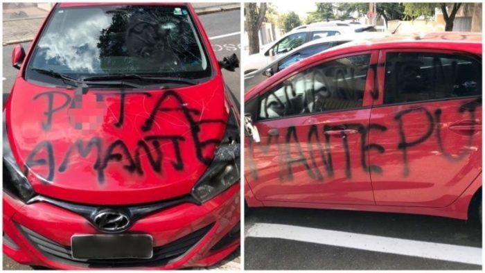 """puta-amante2-700x394 """"P.... AMANTE"""": Após ter carro depredado e pichado, mulher registra caso na polícia"""