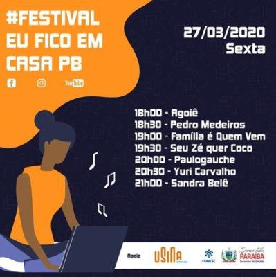 """screenshot_1-399x400 Agentes culturais da Paraíba realizam festival """"Eu fico em Casa""""; Confira programação"""