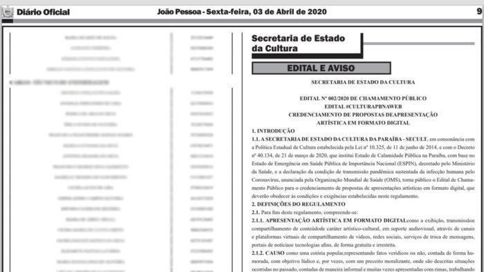 edital-secult-700x394 Governo da PB suspende edital de seleção cultural para exibição de vídeos durante pandemia