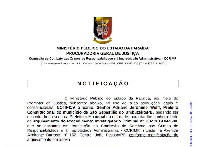 1 Ministério Público arquiva procedimento contra o prefeito de São Sebastião do Umbuzeiro