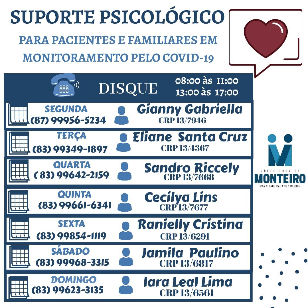 Apoio-Psicológico-PMM-SMS Prefeitura de Monteiro oferece apoio com psicólogos para pacientes e familiares em monitoramento pelo COVID-19