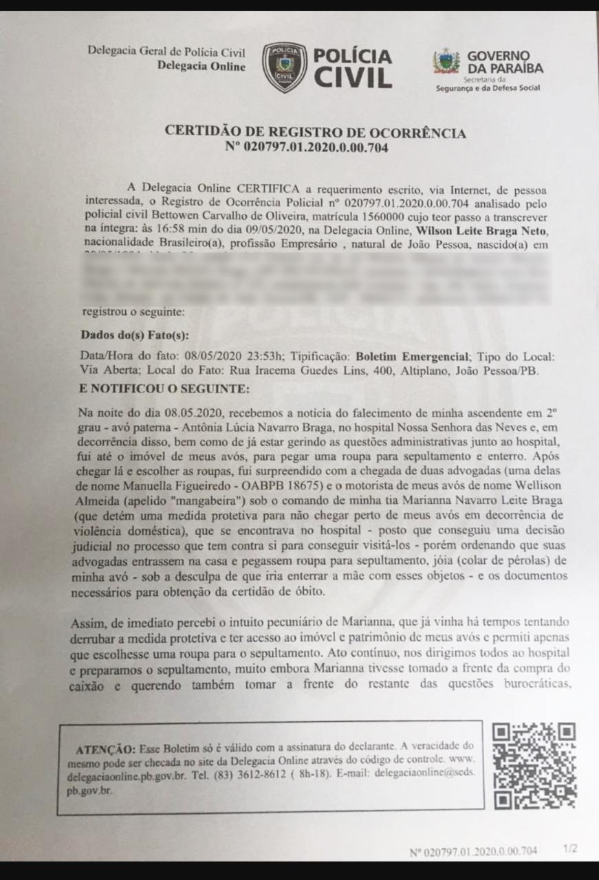 BO Cobiça por herança de Lúcia Braga vira caso de polícia; veja B.O