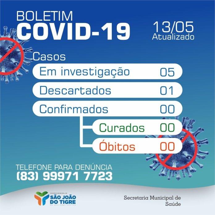 TIGRE Prefeitura de São João do Tigre divulga novo boletim do Covid-19