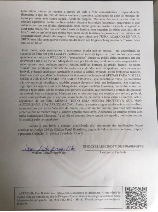 boletim2 Cobiça por herança de Lúcia Braga vira caso de polícia; veja B.O