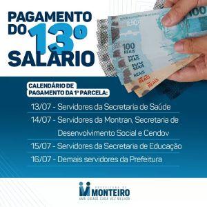 Décimo Prefeitura de Monteiro inicia pagamento da primeira parcela do décimo terceiro salário