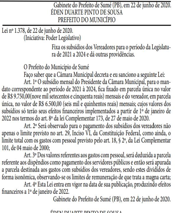 lei-de-aumento-de-salario-sume-2 Em meio à pandemia, prefeito de Sumé sanciona lei aumentando o próprio salário, dos vereadores, vice-prefeito e secretários