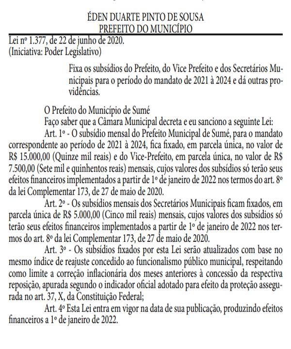 lei-de-aumento-de-salario-sume Em meio à pandemia, prefeito de Sumé sanciona lei aumentando o próprio salário, dos vereadores, vice-prefeito e secretários
