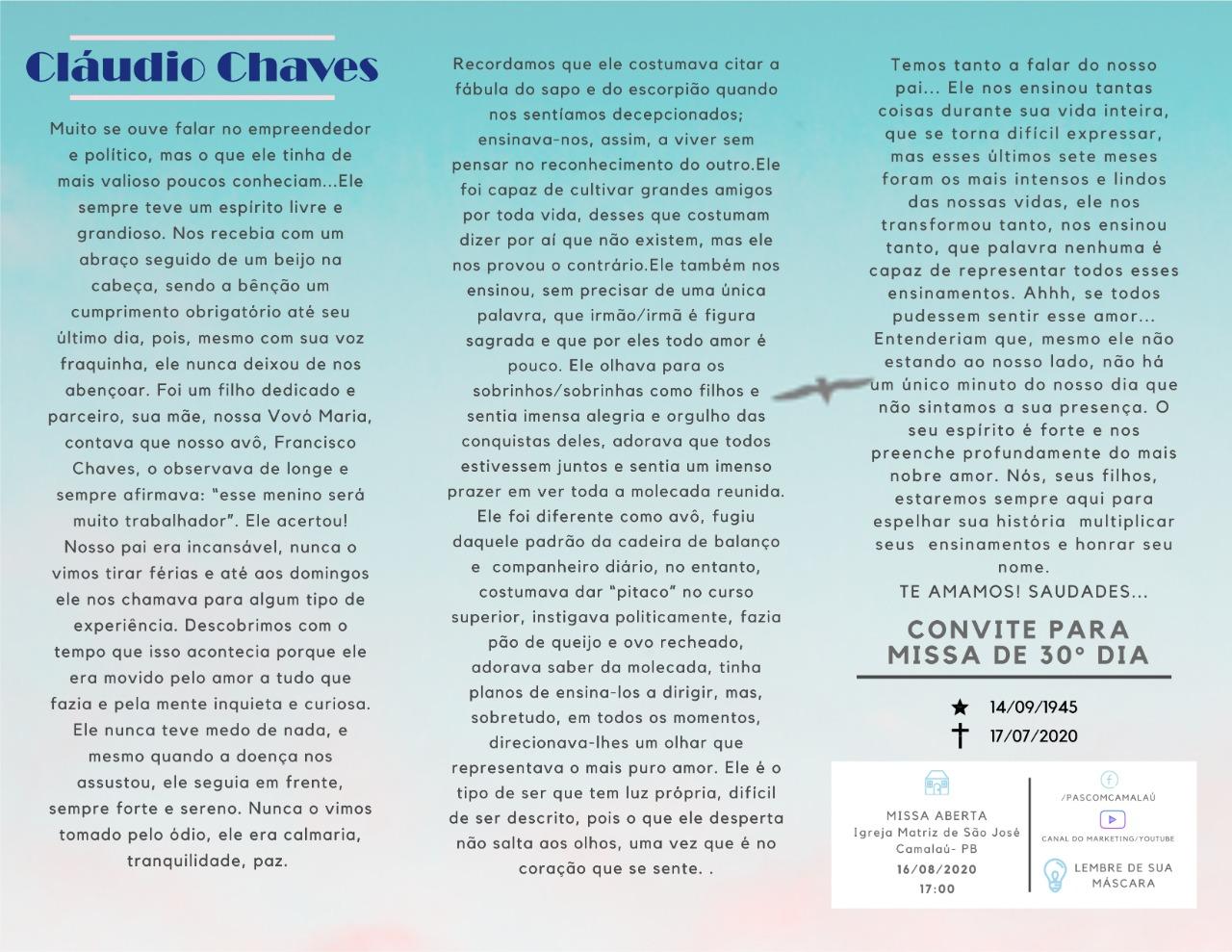 IMG-20200810-WA0267 Convite: Missa de um mês do falecimento de Cláudio Chaves