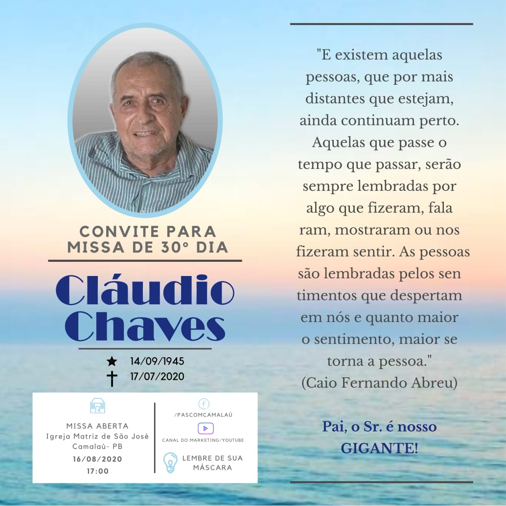 IMG-20200810-WA0268 Convite: Missa de um mês do falecimento de Cláudio Chaves