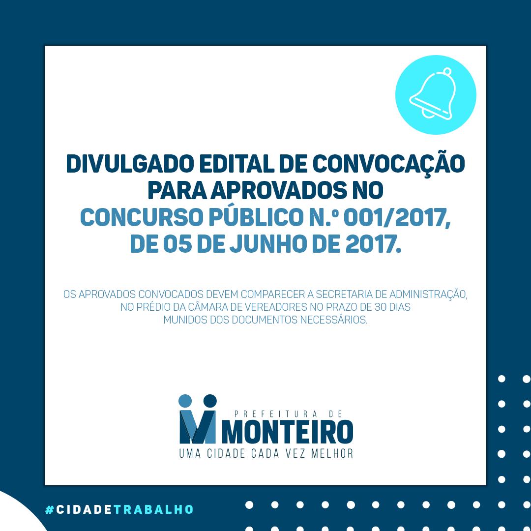 edital-convoca Prefeita de Monteiro realiza 13ª convocação de aprovados no concurso 2017/001