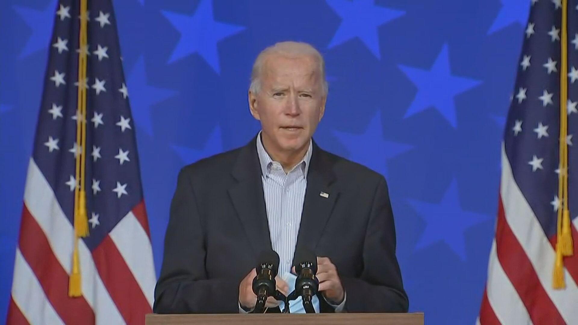 Biden-2 'Nós vamos ganhar a eleição com uma clara maioria', diz Joe Biden em discurso