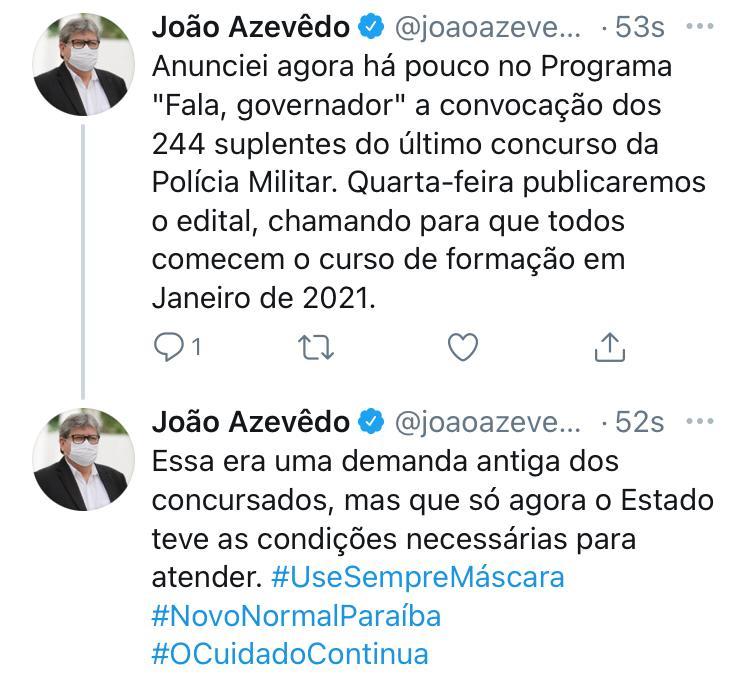 joao_azevedo_convocacao_policia_militar_paraiba João Azevêdo anuncia que vai convocar mais 244 candidatos aprovados nos concursos do Corpo de Bombeiros e da Polícia Militar